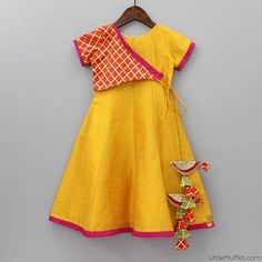 Pre orders can not be returned/exchanged Yellow indo-western gown with stylish sleeve Frill border on sleeves and hem Zip at back Lined with cotton Gender: Girl Kids Frocks, Frocks For Girls, Dresses Kids Girl, Kids Outfits, Baby Girl Lehenga, Kids Salwar Kameez, Kids Wear, Children Wear, Girls Frock Design