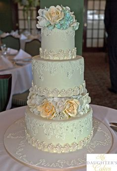 Hand piped lace wedding cake with sugar flowers of roses and hydrangea.  This cake was delivered to Hackensack Golf Club, Emerson, NJ.