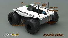 The Aion Robotics is a true, outdoor capable robotic UGV Rover platform. It runs ArduRover control software on the Pixhawk autopilot module. Diy Toys Car, Mobile Robot, Arduino Projects, Robot Design, Sd Card, Usb, Rc Drone, Birthday List, Robotics