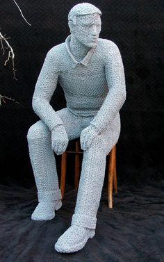 """""""THE SEATED MAN"""" Wire Sculpture by Derek Kinzett"""