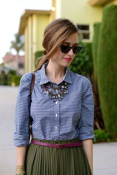 My fave...shirt w statement necklace, belt, and skirt with some nice sunnies