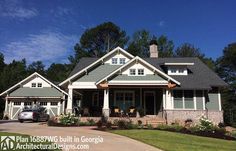3 Bedroom House Plan With Swing Porch - 16887WG | Architectural Designs - House Plans House Plans One Story, Ranch House Plans, Craftsman House Plans, New House Plans, Dream House Plans, Small House Plans, House Floor Plans, Craftsman Cottage, Craftsman Exterior