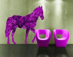 Muursticker IS9 Retro Bloemen paard