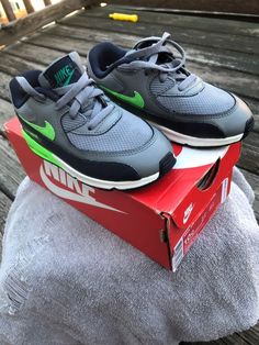 c37ac7e12534 2 Pair Boy NIKE Gray and Navy Air Max 90 Mesh (TD Size 10 ) 1 Pr Gray 2  White  fashion  clothing  shoes  accessories  kidsclothingshoesaccs   unisexshoes ...