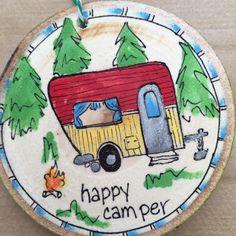 Happy camper wood slice ornament.