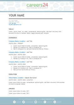 1 Page Cv Template South Africa - Resume Format