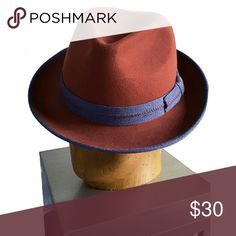 Women's Maroon Felt Fedora with Blue Trim Cute hat for fall/winter. Never worn except to try on. unknown Accessories Hats
