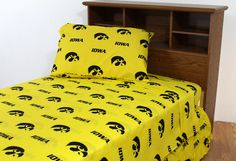 College Covers, Iowa Hawkeyes Printed Sheet Set. College Covers brand Sheet Set Solid includes 1 fitted sheet 1 top sheet and pillow case (s). All items are 100% cotton sateen 200 thread count for a softer feel than any other collegiate bedding available. Sheets and pillow case (s) are printed with the same all over logo pattern to match College Covers brand comforter. Twin size sets come with one pillow case, full, queen and king sizes with two pillow cases