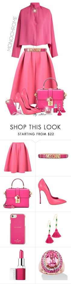 """Color Me Pretty: Head-to-Toe Pink"" by jelenalazarevicpo ❤ liked on Polyvore featuring Moschino, Dolce&Gabbana, Casadei, Kate Spade, Aurélie Bidermann, Clinique, Palm Beach Jewelry and Balenciaga"