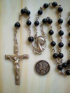 Elegant Vintage Creed Sterling and Black Beaded Rosary.