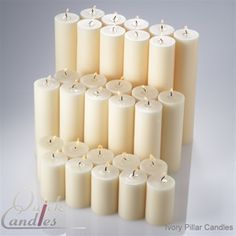 "Ivory Hand Poured Pillar candles unscented 2""x3"", 2""x6"", 2""x9"" set of 30 (10 of each size) $69.99"