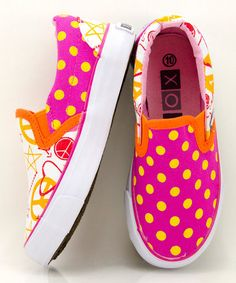 Take a look at this Orange & Pink Doodle Slip-On Sneaker by XOLO Shoes on #zulily today!