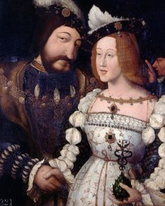 Painting of Francis I of France and his second wife Eleanor of Austria (sister of Charles V) c. 1530s-1540s It was Eleanor, who reportedly refused to be present, as Queen of France, to meet Henry VIII and Anne Boleyn in Calais, she also did not acknowledge Anne Boleyn. Her loyalties, as the rest of her family, remained with her aunt, Katharine of Aragon. Mode Renaissance, Costume Renaissance, Renaissance Portraits, Renaissance Clothing, Renaissance Fashion, Italian Renaissance, Historical Clothing, French History, Tudor History