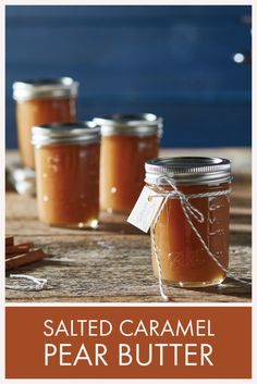 Pear butter masquerading as a decadent caramel spread. It's fabulous with breakfast, even better on a turkey or ham sandwich. Pear Butter, Apple Butter, Fruit Butter Recipe, Caramel Pears, Caramel Apple Jam Recipe, Pear Preserves, Fresco, Canning Pears, Pear Sauce