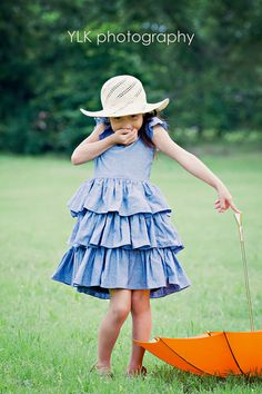 chambray blue tiered dress