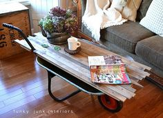 wheelbarrow coffee table