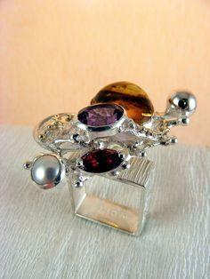 Follow us, Join us on Facebook, and visit http://www.designerartjewellery.com, Gregory Pyra Piro One of a Kind Handmade Jewellery in London in Silver and Gold, Bespoke Jewellery with Semi Precious Stones, #Amber #Ring 1710