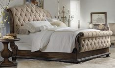Tufted Sleigh Bed. Luxury Furniture