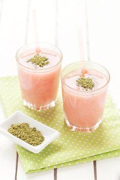 Tapioca Rice Milk, Rhubarb Jam and Matcha Green Tea