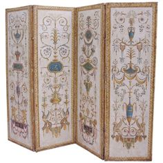 19th c. Directoire style Painted Screen Divider with grotesque painted