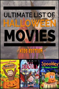 The Ultimate List of Halloween Movies for KIDS! I can't wait to watch many of these with my kids! Halloween Tags, Halloween Movies List, Halloween Movie Night, Theme Halloween, Halloween Birthday, Family Halloween, Easy Halloween, Holidays Halloween, Halloween Crafts