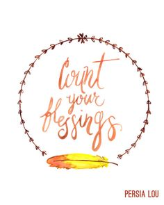 Free count your blessings printable! Simply print it out and place in a frame - a perfect Thanksgiving home decorating accent!  Persia Lou for OHMY-CREATIVE.COM