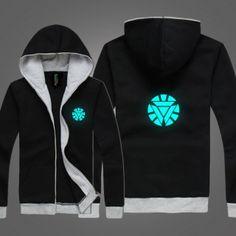 luminous  Iron Man Arc reactor hoodie glow in the dark zip up hoody