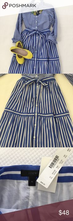J. Crew blue and white striped midi skirt Stripes are still on-trend and this beautiful color of blue with white stripes is so fresh. It can be mixed with so many colors so a good staple for your Spring/summer wardrobe. It just doesn't fit me so I need to sell it. Never worn. NWT J. Crew Skirts Midi