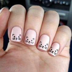 kids nails cute simple \ nails kids cute & nails kids cute easy & cute nails for kids & kids nail designs cute & kids nails cute simple & nails for kids cute short & cute acrylic nails for kids & cute unicorn nails for kids Kawaii Nail Art, Cat Nail Art, Cat Nails, Coffin Nails, Animal Nail Art, Stiletto Nails, Cat Claw Nails, Bunny Nails, Minimalist Nails