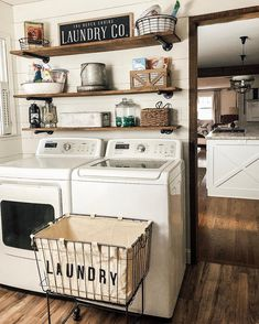 @functionalfarmhouse has a picture perfect laundry room, featuring our Metal Laundry Basket with Wheels.