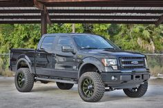 Ford truck with custom painted wheels. Lifted Ford Trucks, Pickup Trucks, Ford F150 Custom, 2014 Ford F150, Future Trucks, Ford F Series, Trucks And Girls, Aftermarket Parts, Truck Accessories