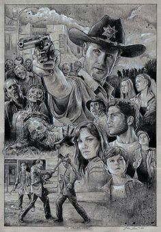 """""""The Walking dead"""" Costum Poster. Black and White pencils and acrylic paint. 35 x 50 cm. The Walking Dead Carol The Walking Dead, Walking Dead Drawings, The Walking Dead Saison, Walking Dead Fan Art, Walking Dead Tv Series, Walking Dead Zombies, Walking Dead Season, Andrew Lincoln, Rick Grimes"""