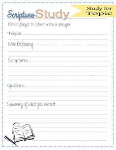 Scripture study journal free printables lds topic