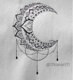 B&W Moon Mandala Design #art #creative #drawing #mandala #moon #zentangle #tattoo#young_artists_he - 17kianart71