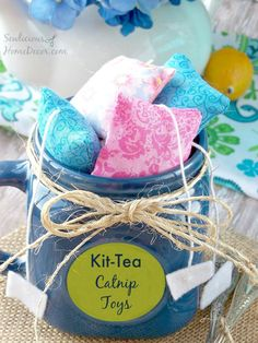 """Wonderful gift idea for those who have a """"cat lady"""" in their life. Crazy or not. Kit Tea Catnip Cat Toys from sewlicioushomedecor.com"""