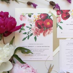 I adore this painterly floral wedding invite! A florist could design the bridal bouquet to match. Courtyard Garden Wedding Invitation by Little Arrow
