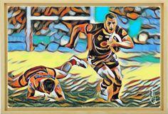 Rugby Painting, 60x40 cm Acrylique & Posca sur toile montée sur châssis. Signée par l'artiste. Pièce unique. Acrylic & Posca on canvas mounted on a frame. Signed by the artist. Original piece. Original Artwork www.tullasky.com