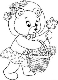 Mr Tubby Bear Collecting Flower In A Bucket In Noddy Coloring Pages Colouring Sheets For Adults, Coloring Sheets, Adult Coloring, Coloring Books, Cute Coloring Pages, Kids Story Books, Online Coloring, Bullet Journal Inspiration, Book Illustration