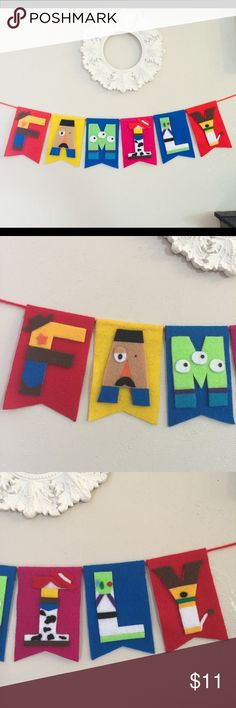 Handmade Toy Story FAMILY banner Made by felt (not paper!) . I can also customize banners with any characters from $15. (Additional fee for long letters). So let me know what theme, letters or colors you are looking for! I am also selling on M.... lot cheaper... I will discount for bundle so check my list!! Tag: Disney, Avengers, home decorations, birthday party, name banner, name sign, baby boy and girl Disney Accessories