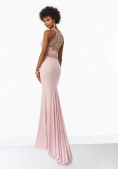 Fitted Jersey Prom Dress with Beaded Bodice and Illusion Back   Morilee