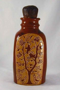 1982 Redware Tall Bottle Squared Shape Glazed With Sgraffito Birds in Flower Tree Hand Carved Walnut Stopper Breininger Pottery