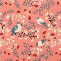 Birds and Branches Coral bird branch birch organic fabric from the USA