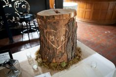 Tree Stump Card box, my dad made this for us. I had the idea and he made it come to life! We use this as an end table in our house now :)