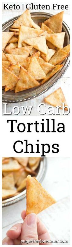 Crispy, crunchy and perfect for dipping! These Keto low carb tortilla chips taste just as good as the real thing, but with a fraction of the carbs. #lowcarb #keto #lchf #snack #tortillachips #healthyrecipe #lowcarbrecipe #cleaneating #glutenfree