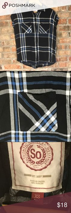 Plaid short sleeve button down top Super soft flannel top in black, white, and blue.  It's a size XS, but I'm a M and can wear it fine. Authentic American Heritage Tops Button Down Shirts