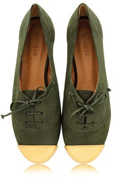 MISS UNIQUE ESTER Olive Lace Up Flats - SHOES | FLATS