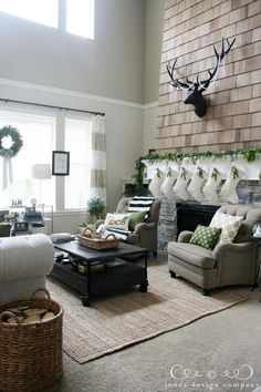 nicole, this is what i was talking about with using trim to break up a tall room! {jones design co. christmas house tour}