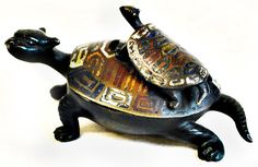 "Chines bronze incense burner with  two turtles. 4 1/2"" x 3"" x 3"""