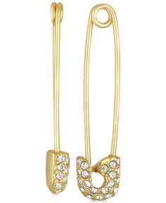 """The 80s go modern with these totally-retro pave safety pin drop earrings created by Rachel Rachel Roy in gold-tone mixed metal. Approximate drop: 1"""". 