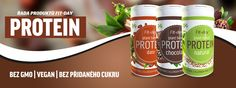 Fit-day protein vegan - přírodní protein Energy Drinks, Plant Based, Protein, Beverages, Health Fitness, Canning, Day, Food, Health And Wellness